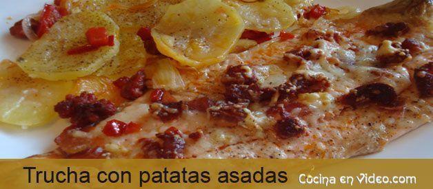Trucha con patatas asadas
