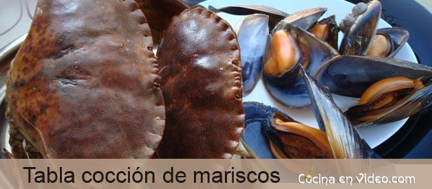 Tabla de coccion de mariscos