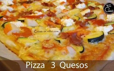Pizza 3 quesos con masa casera