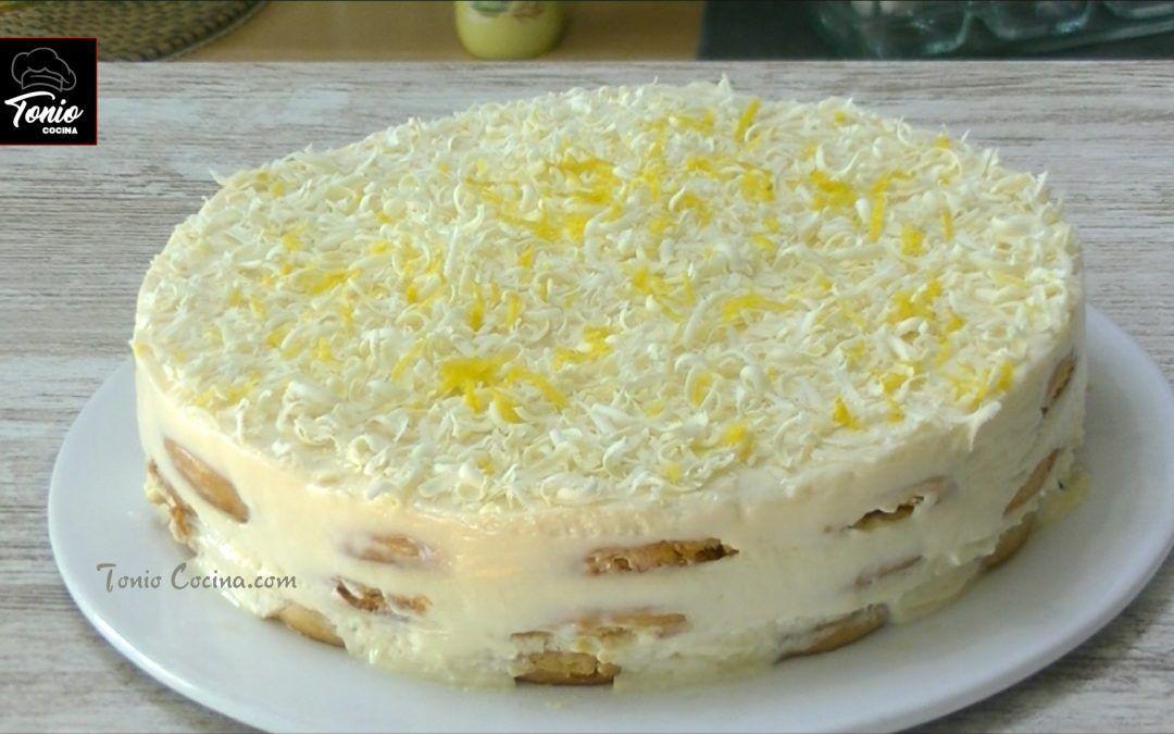 Tarta fácil de limón con leche condensada y galletas